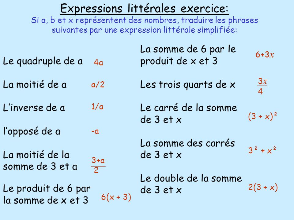Expressions littérales exercice: