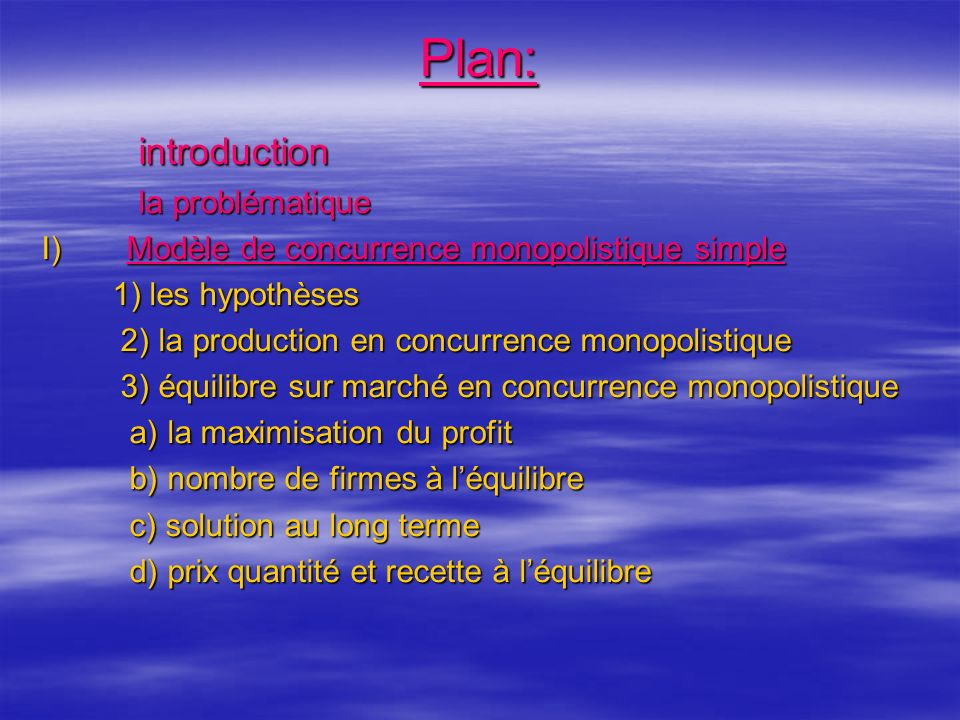 Plan: introduction la problématique