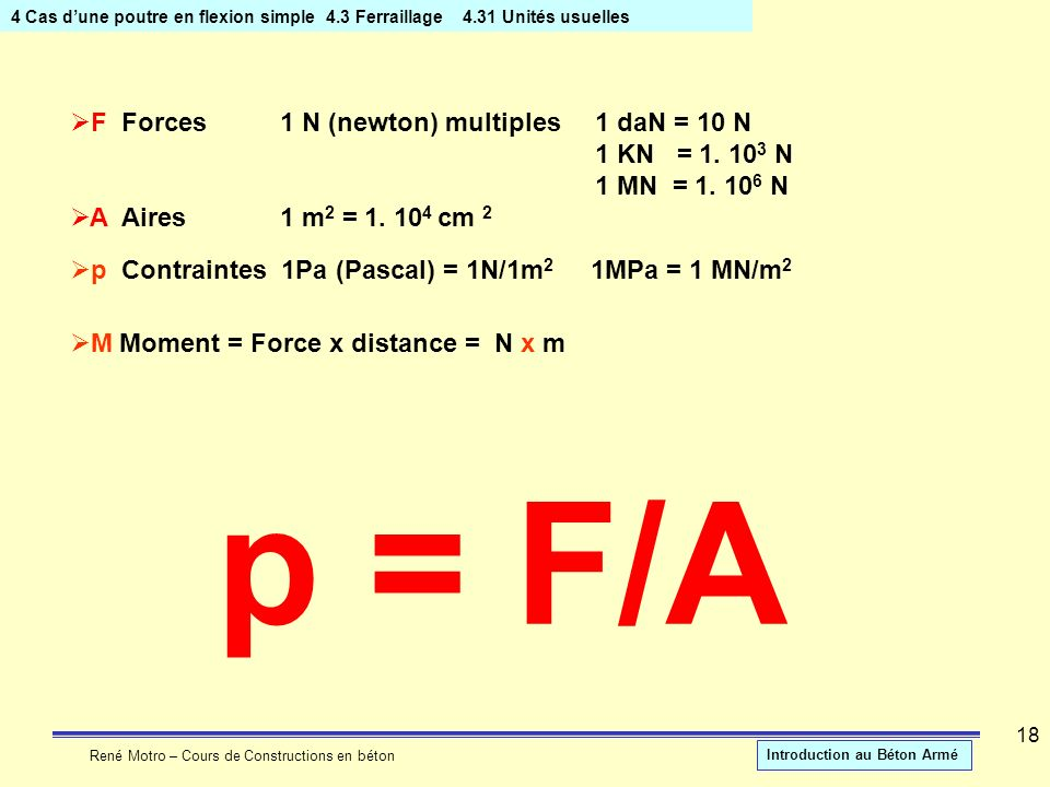 p = F/A F Forces 1 N (newton) multiples 1 daN = 10 N 1 KN = N
