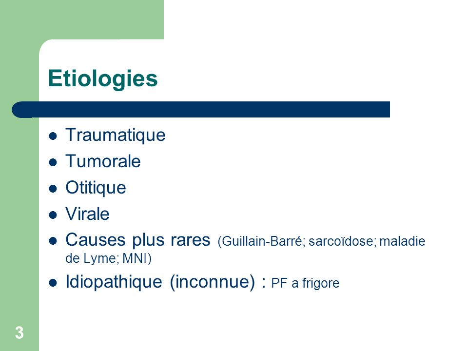 Etiologies Traumatique Tumorale Otitique Virale