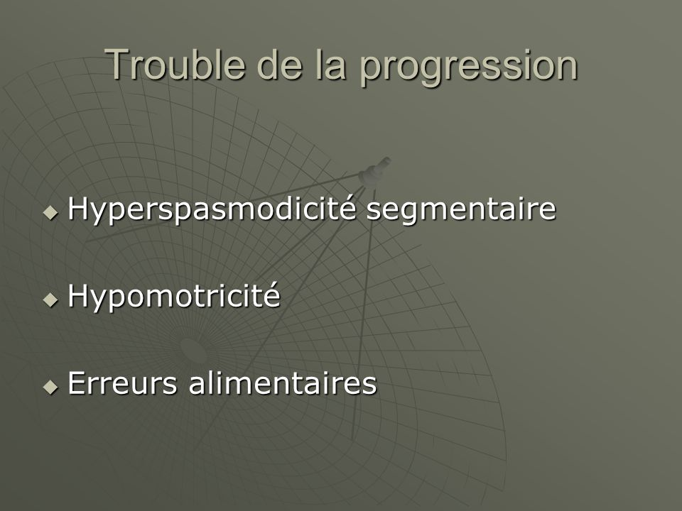 Trouble de la progression