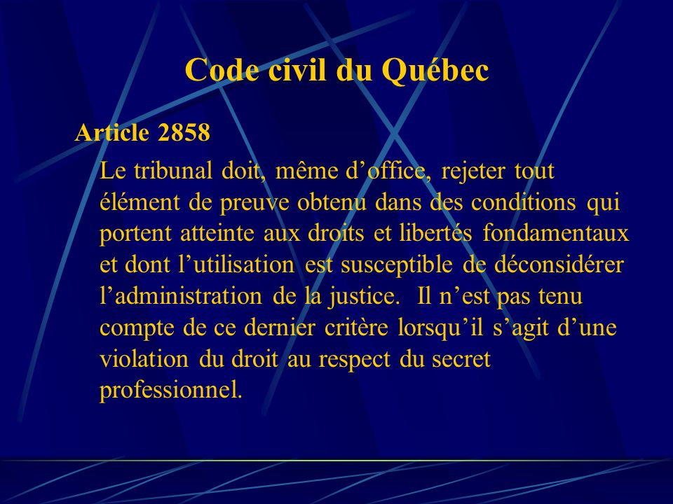 Code civil du Québec Article 2858