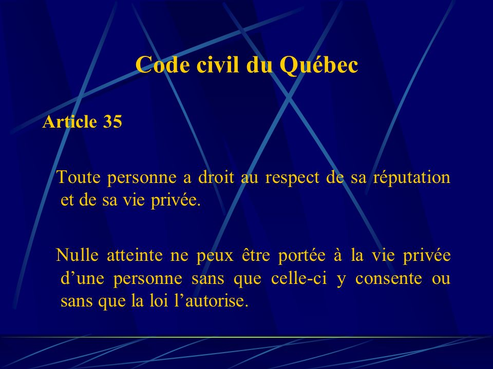 Code civil du Québec Article 35