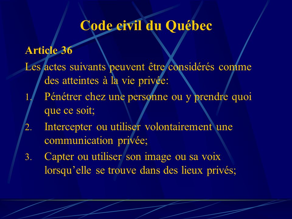 Code civil du Québec Article 36