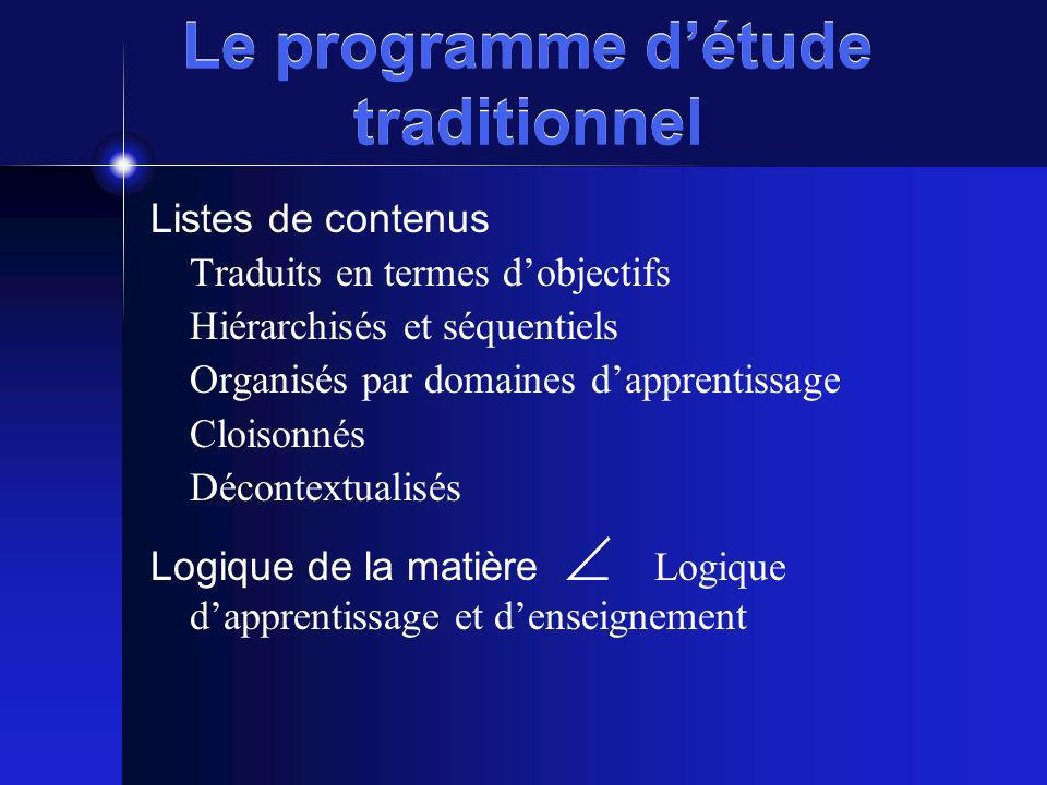 Le programme d'étude traditionnel
