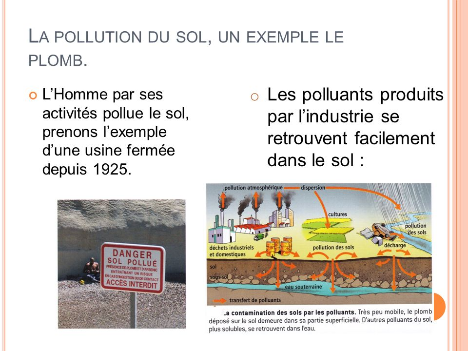 La pollution du sol, un exemple le plomb.