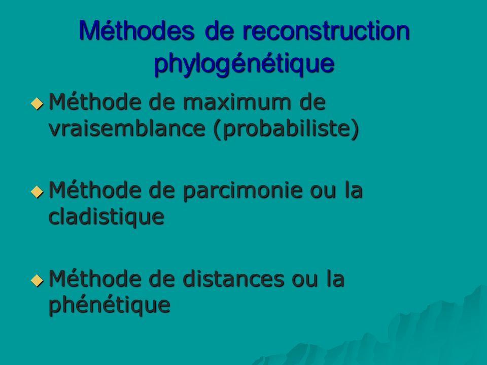 Méthodes de reconstruction phylogénétique