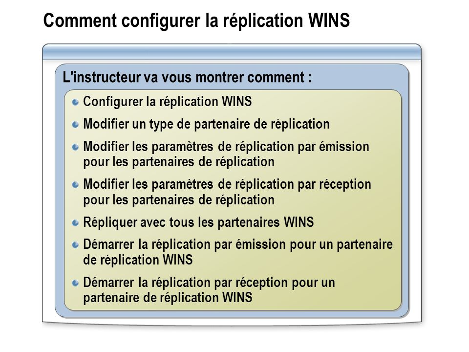 Comment configurer la réplication WINS