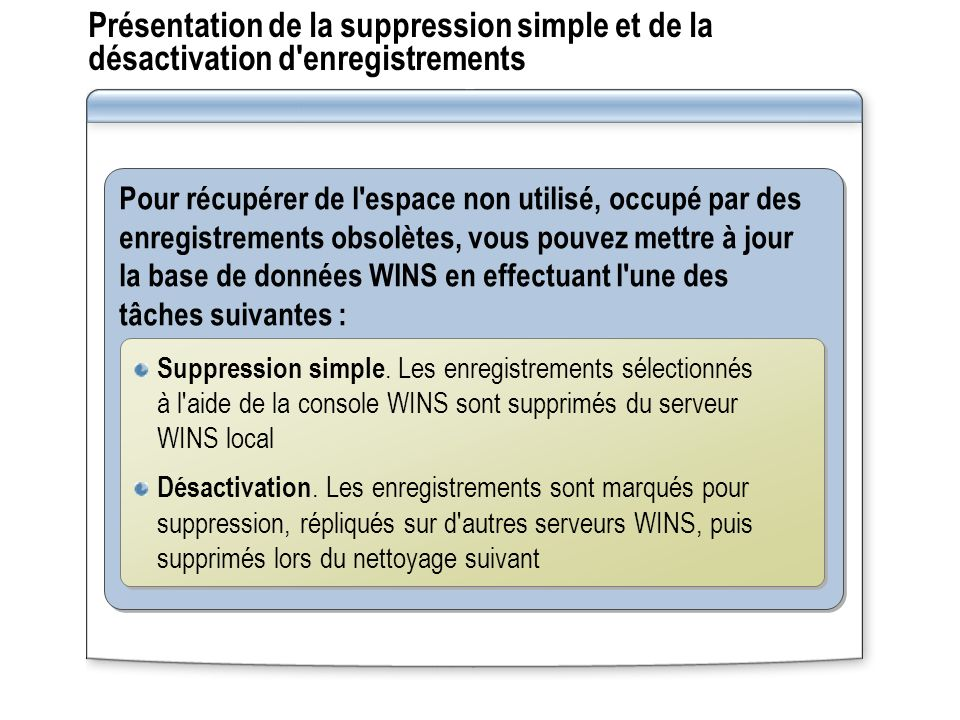 Présentation de la suppression simple et de la désactivation d enregistrements