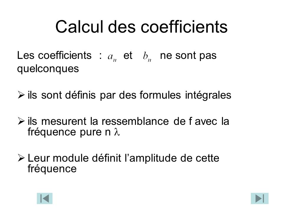 Calcul des coefficients