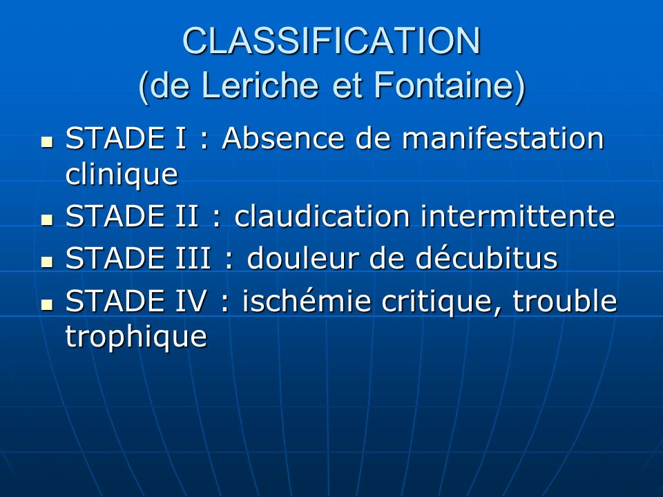 CLASSIFICATION (de Leriche et Fontaine)