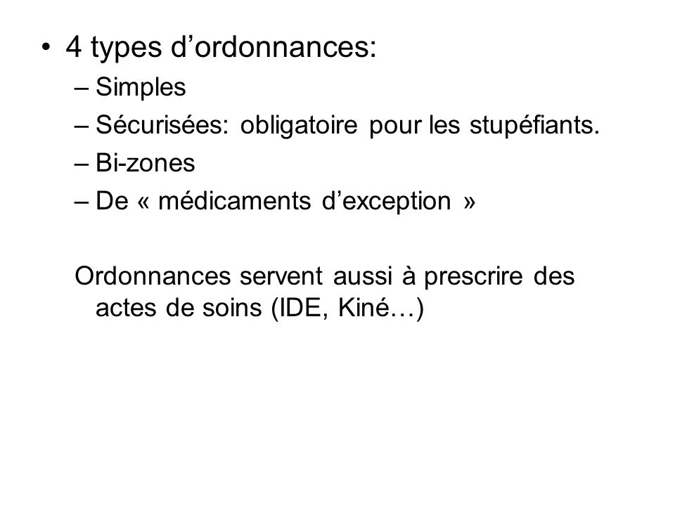 4 types d'ordonnances: Simples