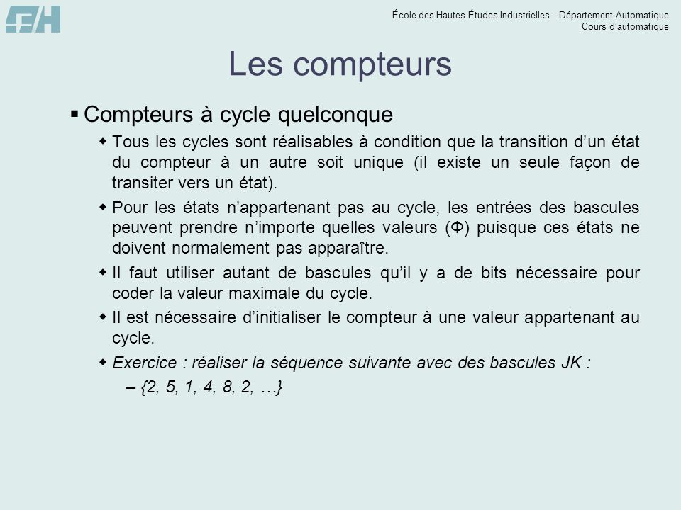 Les compteurs Compteurs à cycle quelconque
