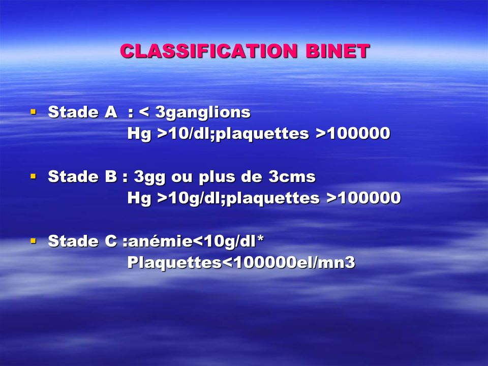 CLASSIFICATION BINET Stade A : < 3ganglions