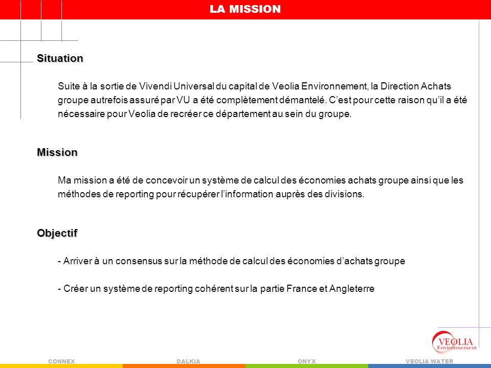 LA MISSION Situation Mission Objectif