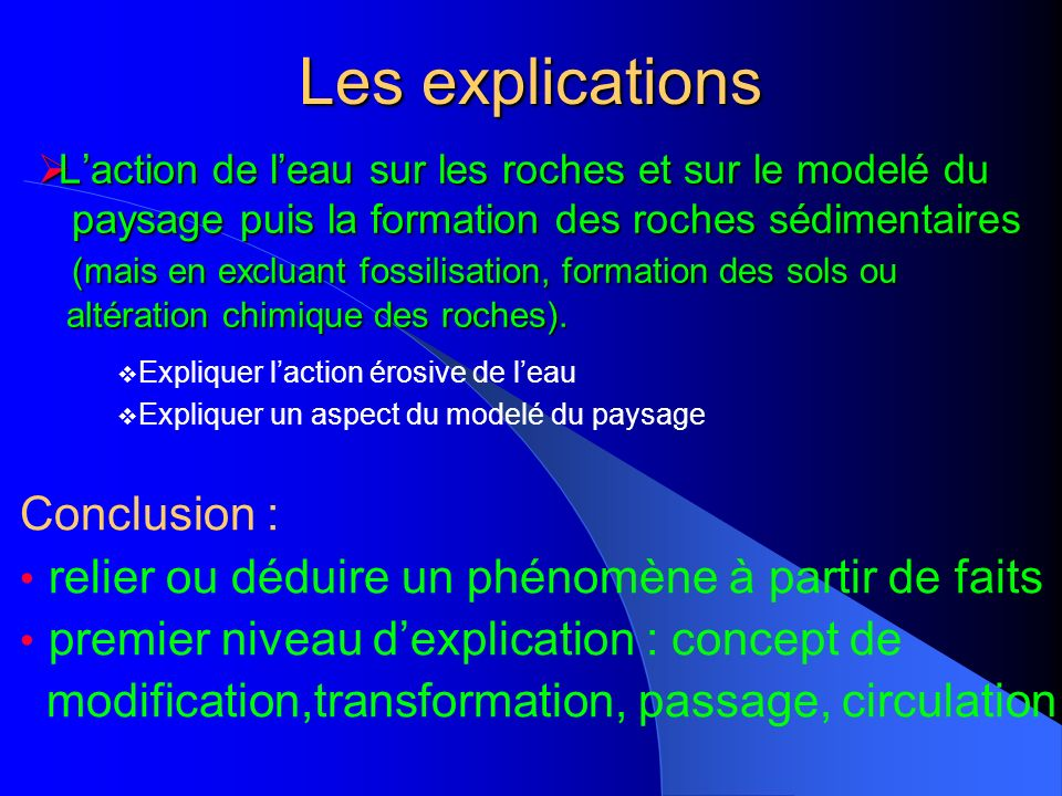 Les explications Conclusion :