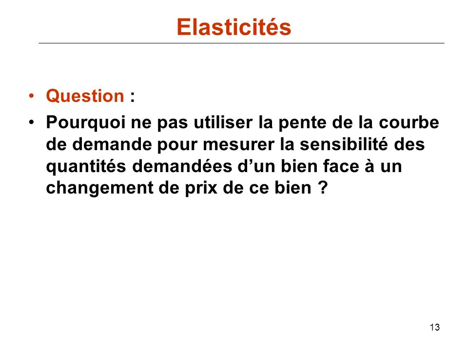 Elasticités Question :