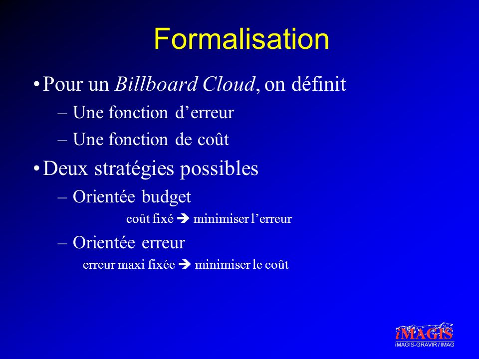 Formalisation Pour un Billboard Cloud, on définit