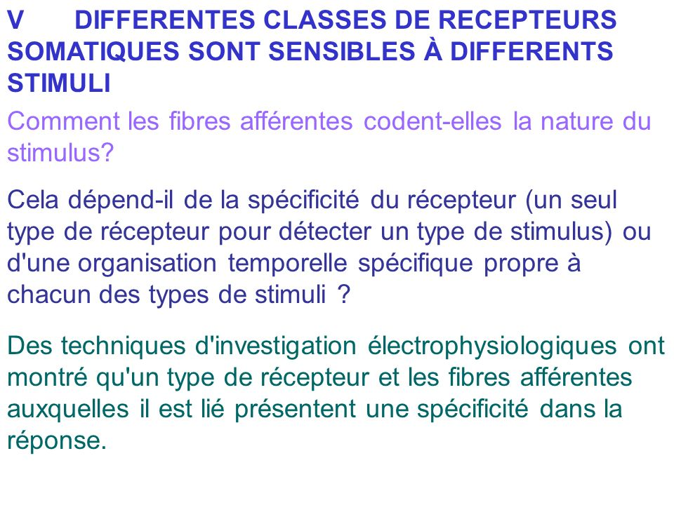 V DIFFERENTES CLASSES DE RECEPTEURS SOMATIQUES SONT SENSIBLES À DIFFERENTS STIMULI