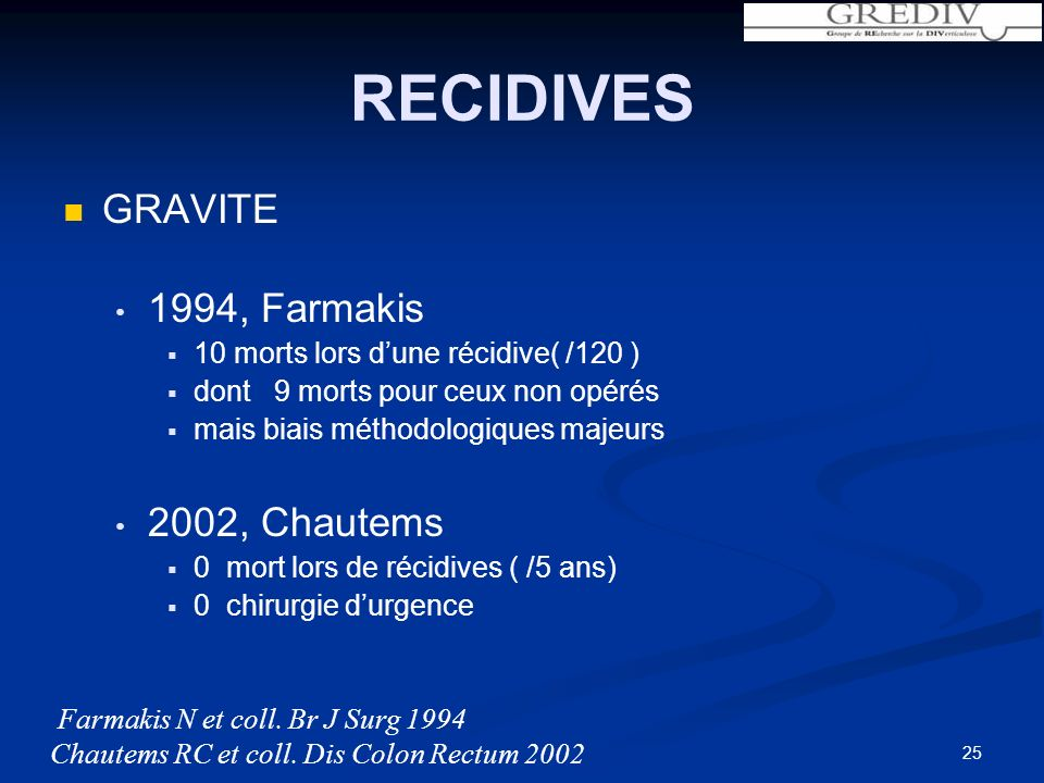 RECIDIVES GRAVITE 1994, Farmakis 2002, Chautems