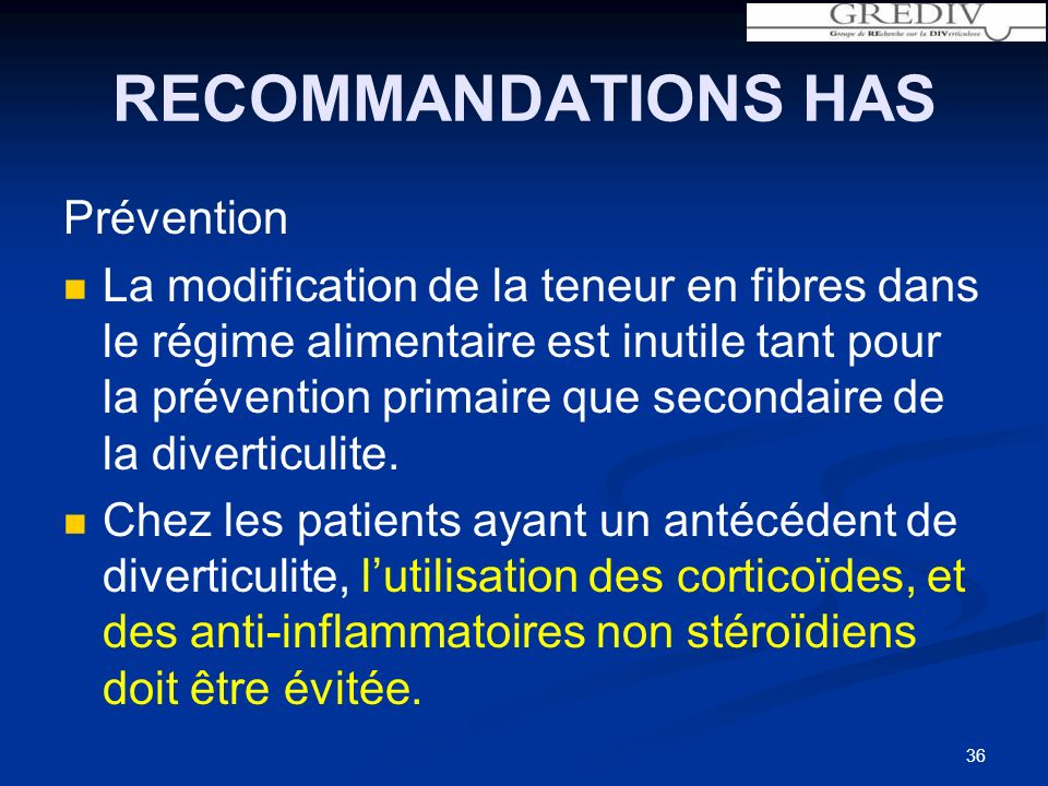 RECOMMANDATIONS HAS Prévention