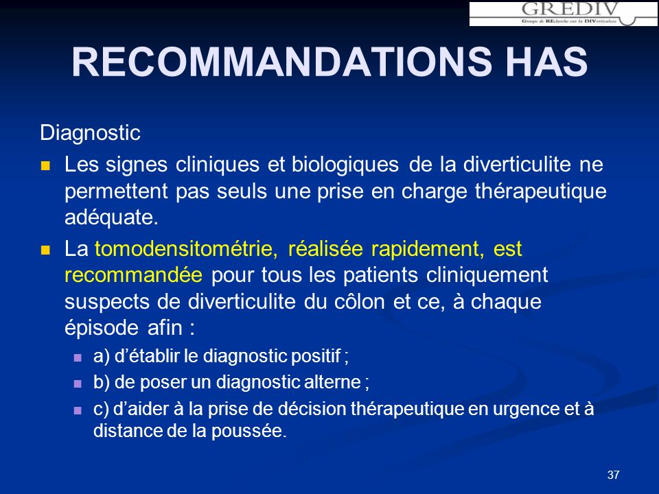 RECOMMANDATIONS HAS Diagnostic