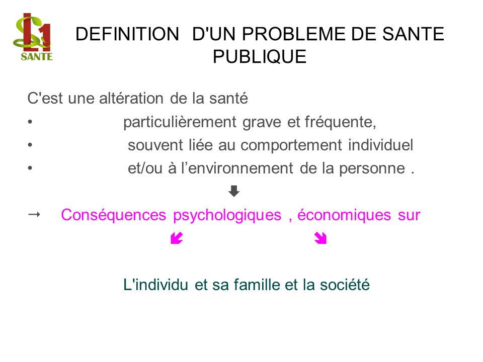 DEFINITION D UN PROBLEME DE SANTE PUBLIQUE