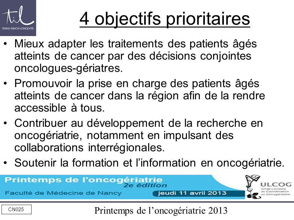 4 objectifs prioritaires
