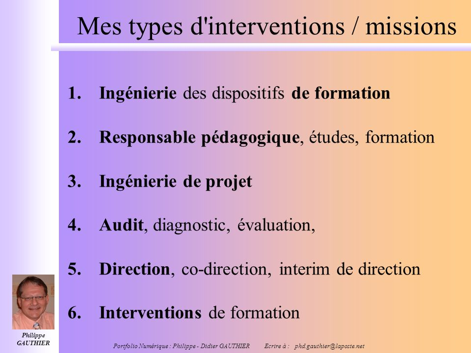 Mes types d interventions / missions