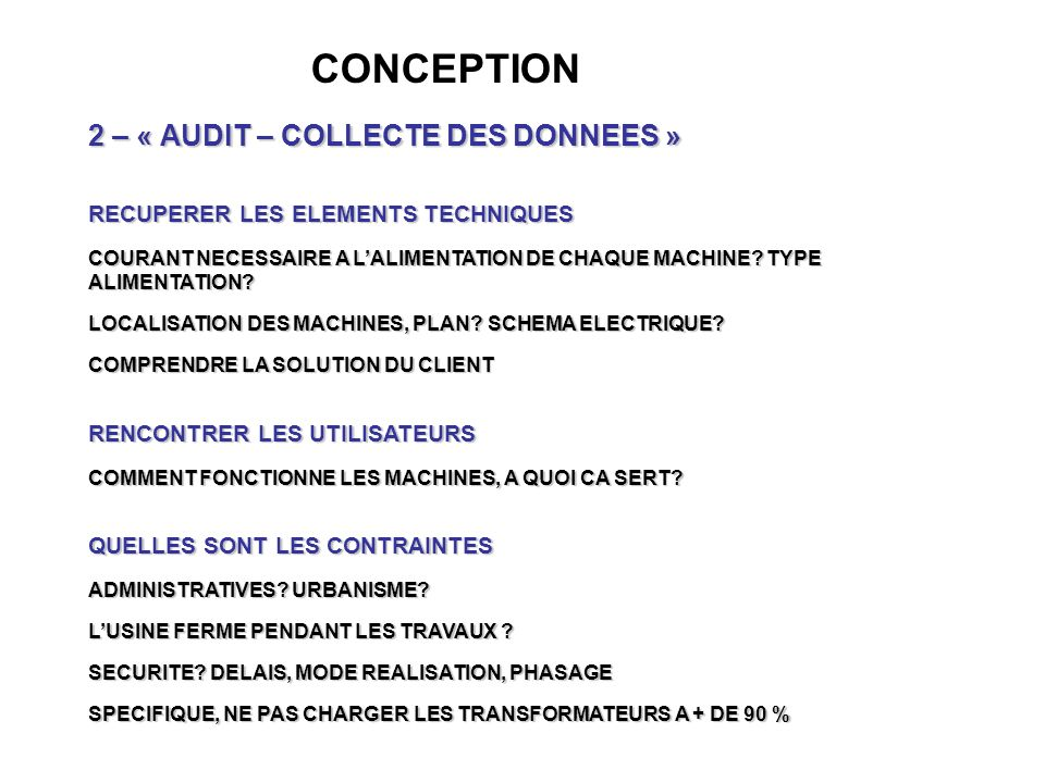 CONCEPTION 2 – « AUDIT – COLLECTE DES DONNEES »