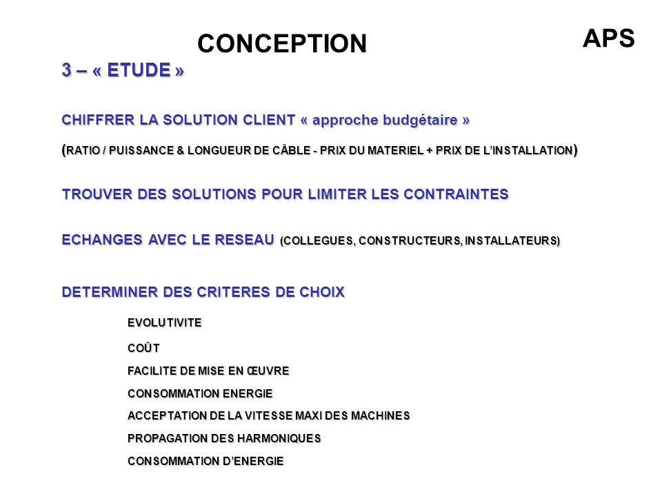APS CONCEPTION 3 – « ETUDE »
