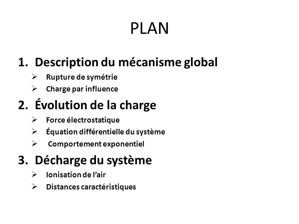 PLAN Description du mécanisme global Évolution de la charge