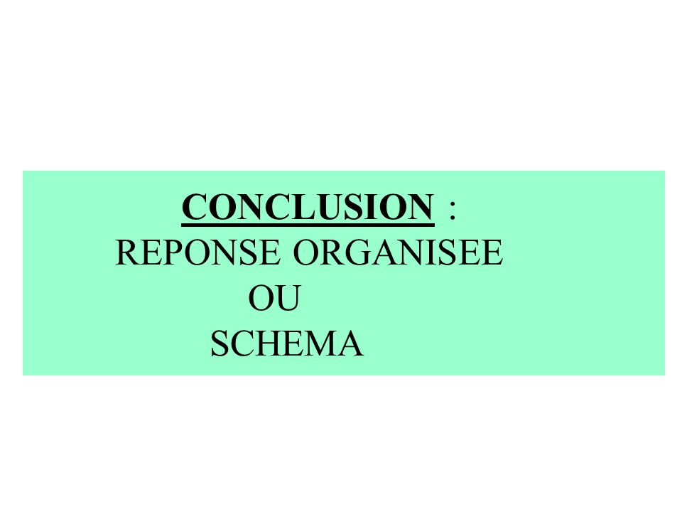 CONCLUSION : REPONSE ORGANISEE OU SCHEMA