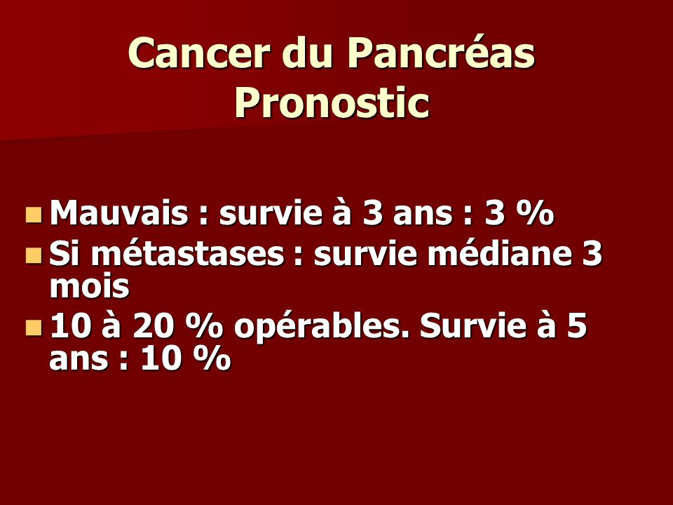 Cancer du Pancréas Pronostic