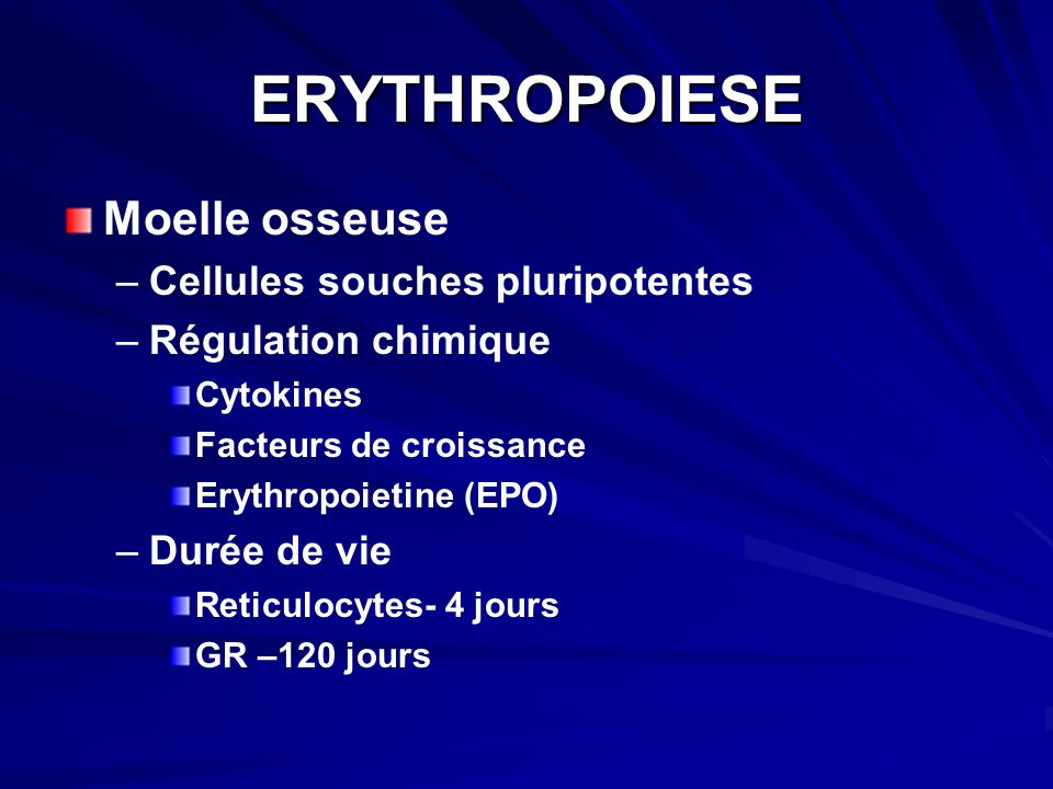 ERYTHROPOIESE Moelle osseuse Cellules souches pluripotentes
