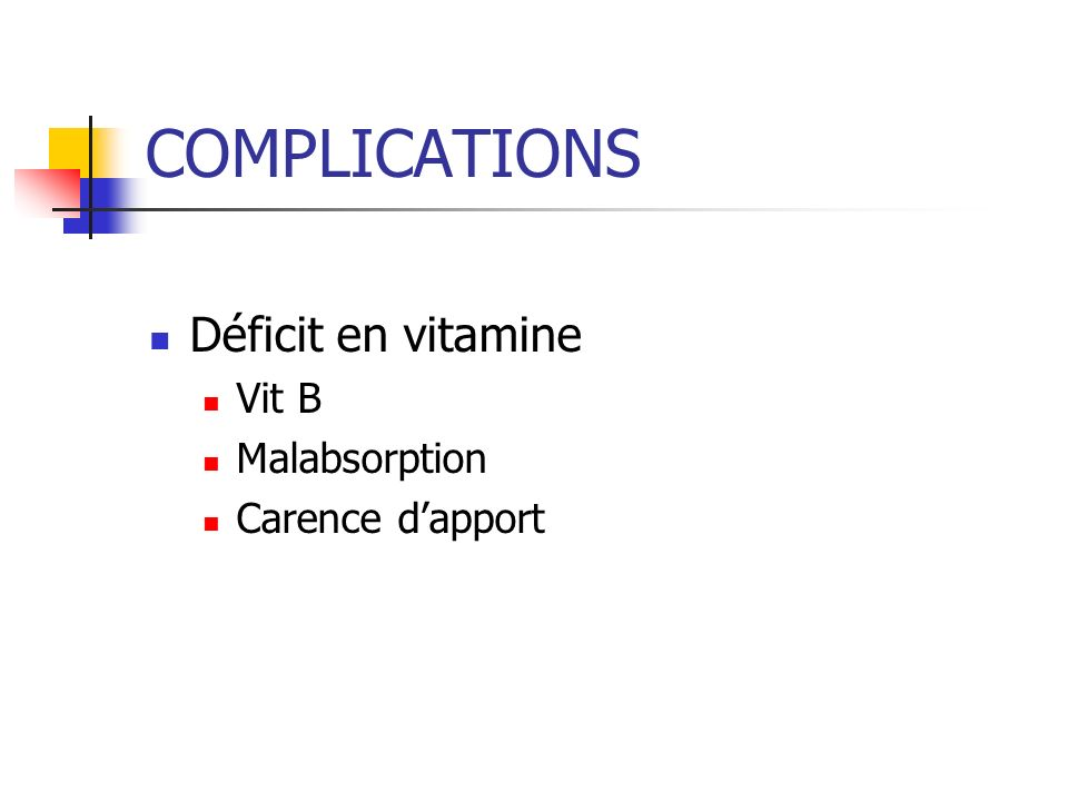 COMPLICATIONS Déficit en vitamine Vit B Malabsorption Carence d'apport
