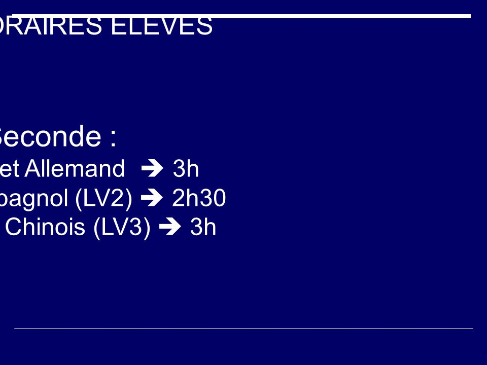  Seconde : HORAIRES ELEVES Anglais et Allemand  3h