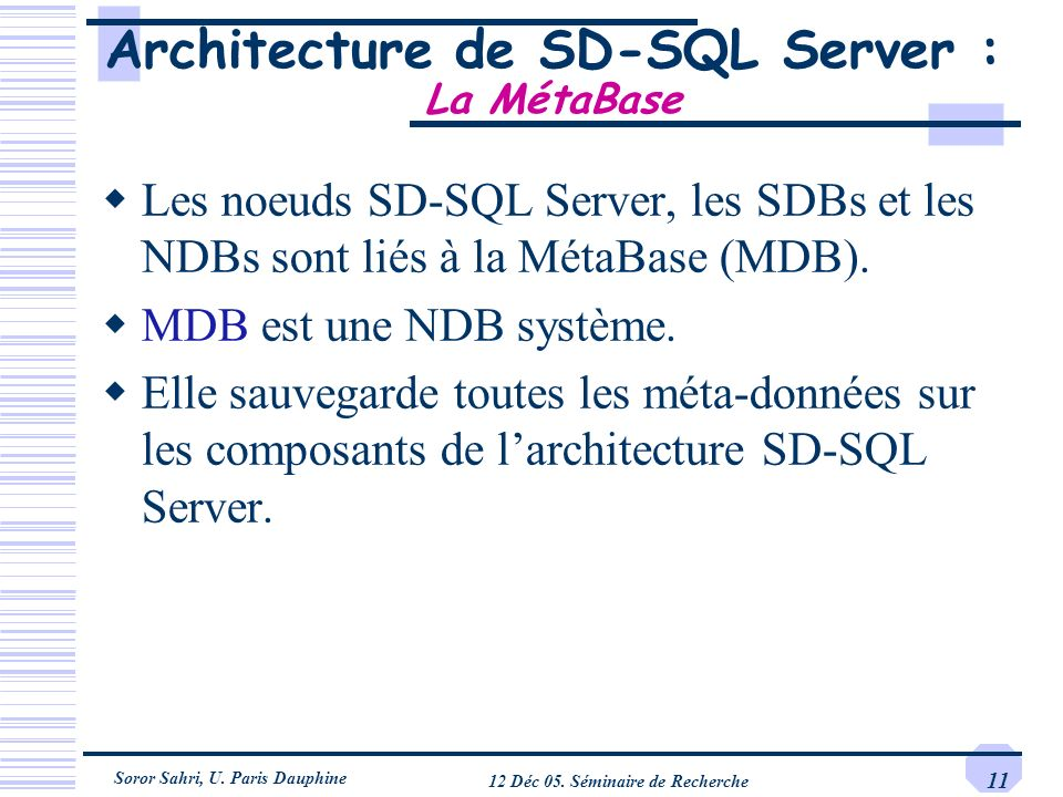 Architecture de SD-SQL Server : La MétaBase