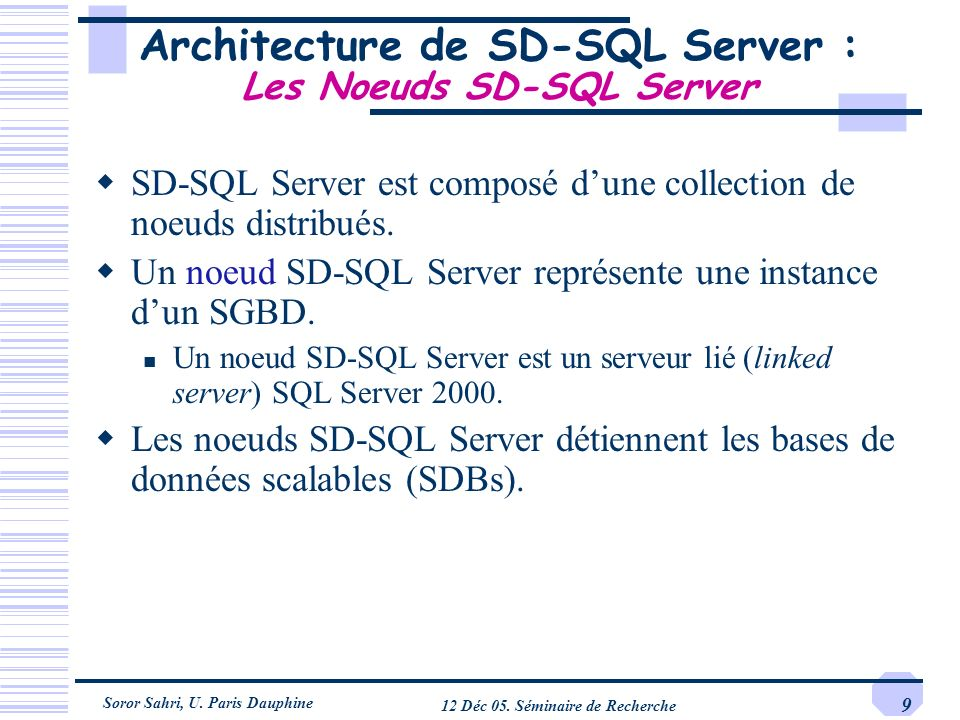 Architecture de SD-SQL Server : Les Noeuds SD-SQL Server