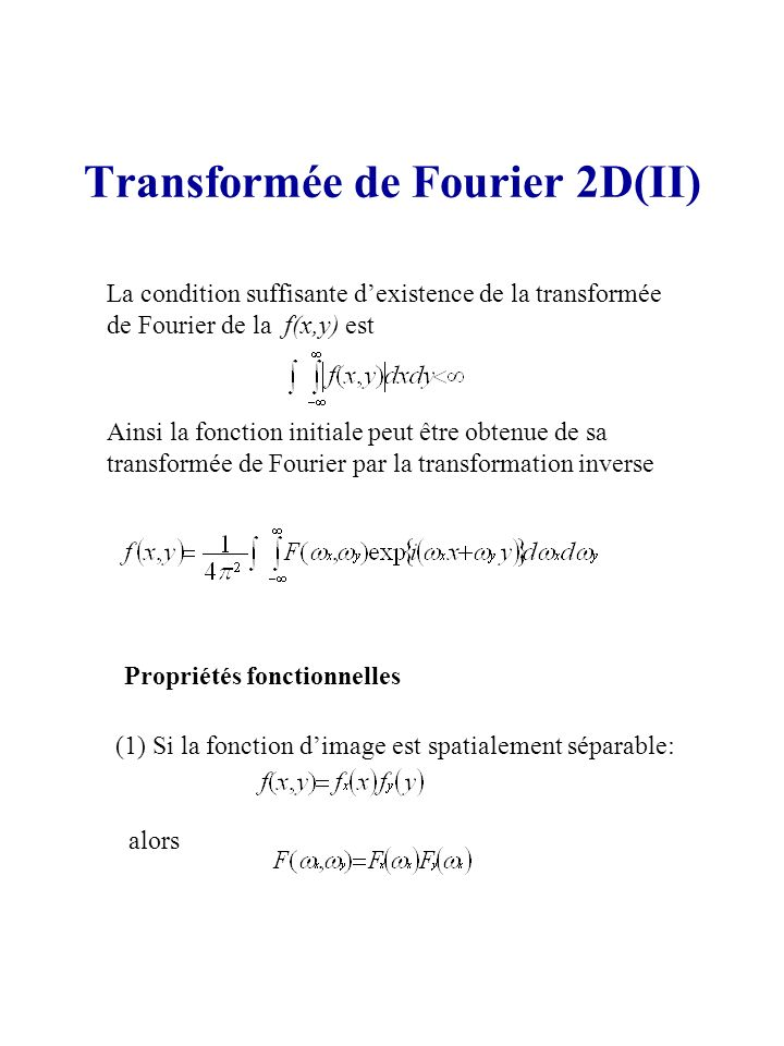 Transformée de Fourier 2D(II)