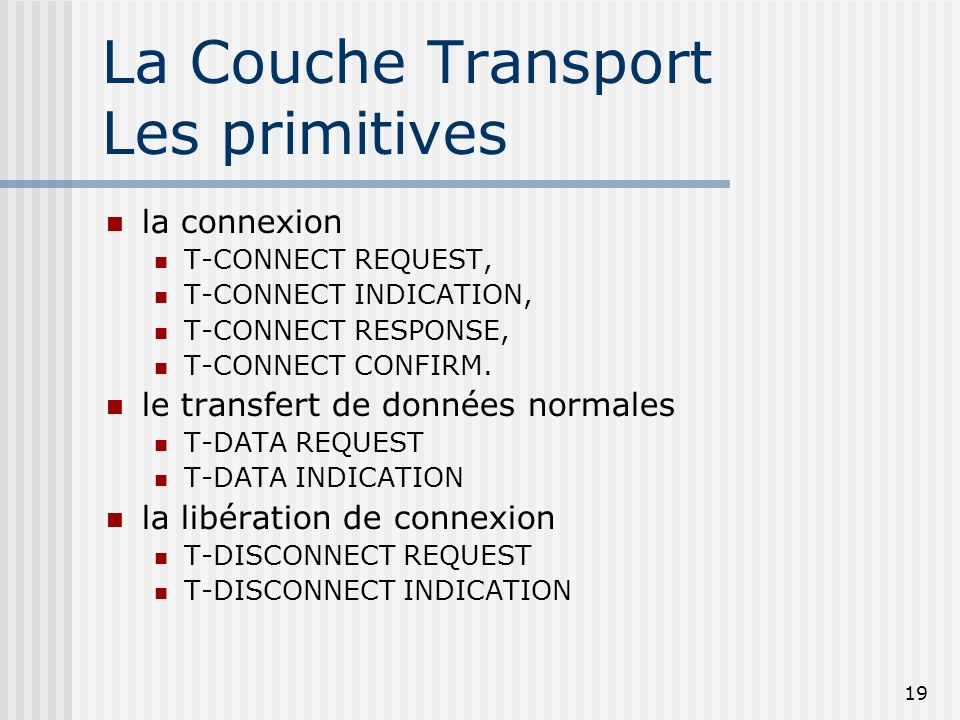 La Couche Transport Les primitives