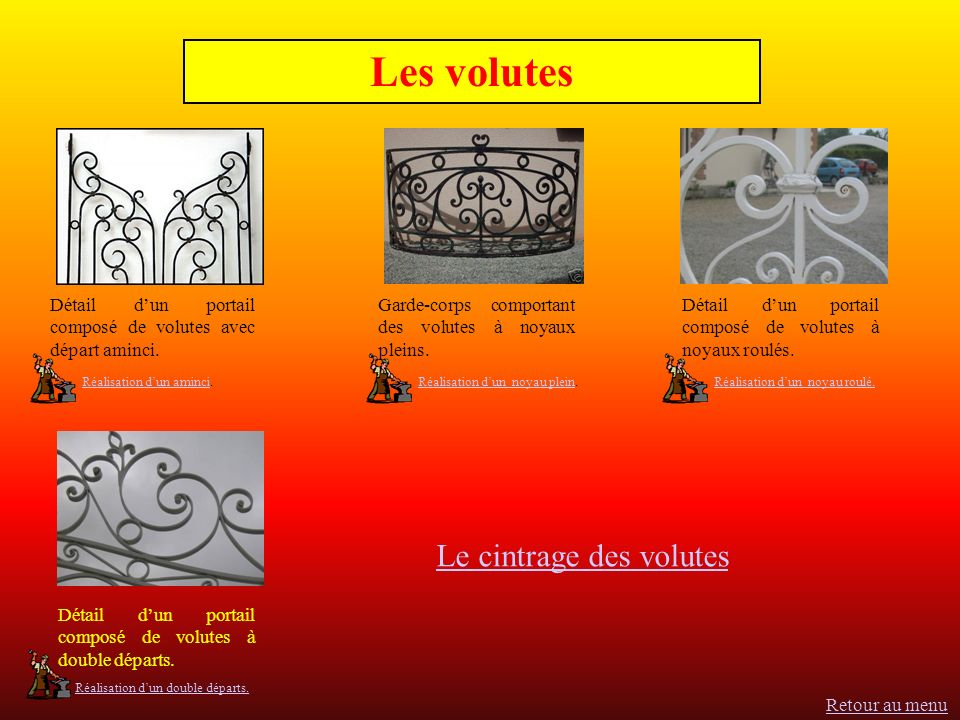 Les volutes Le cintrage des volutes