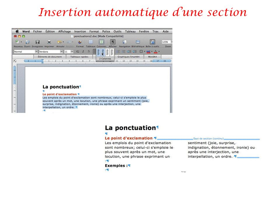 Insertion automatique d'une section