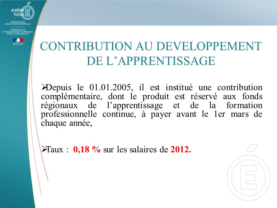 CONTRIBUTION AU DEVELOPPEMENT DE L'APPRENTISSAGE