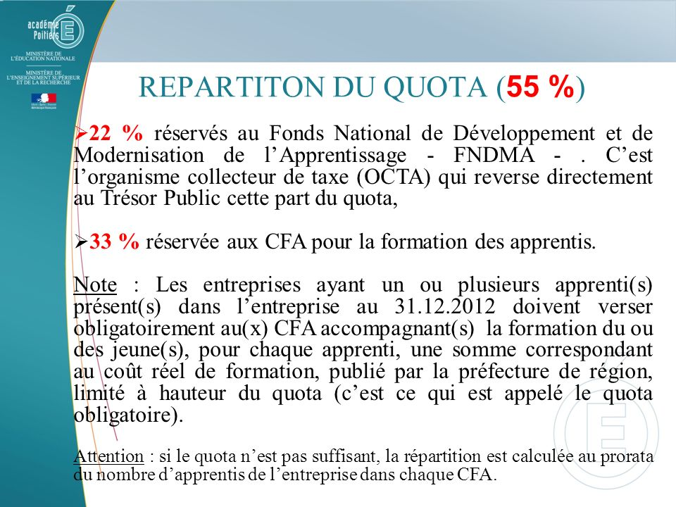 REPARTITON DU QUOTA (55 %)