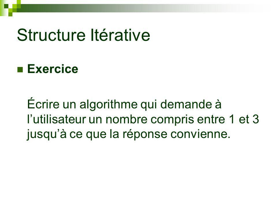 Structure Itérative Exercice