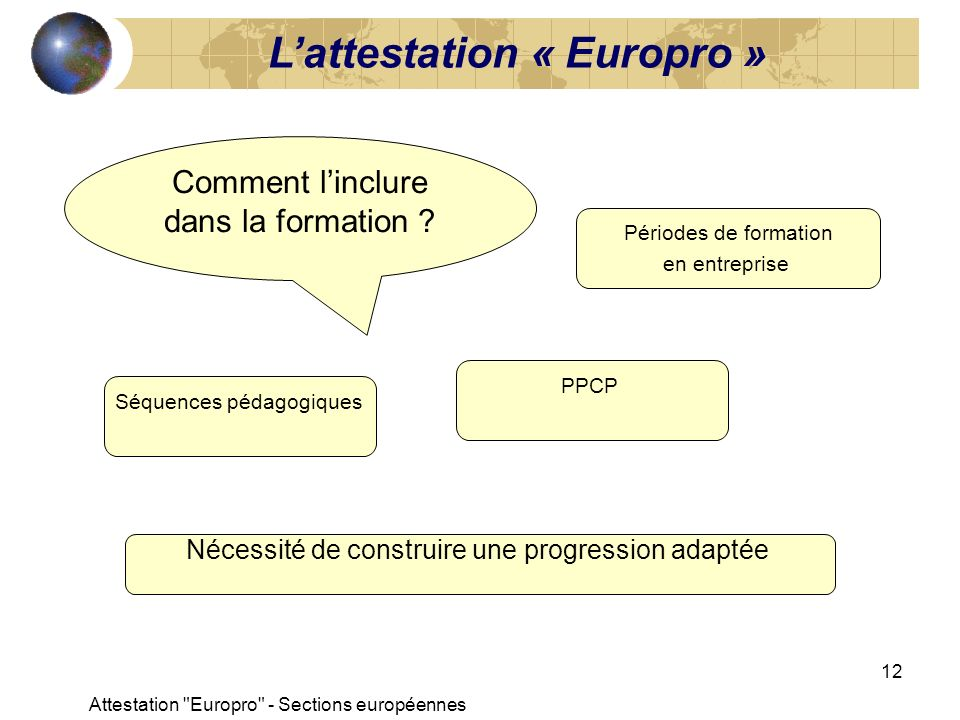 L'attestation « Europro »