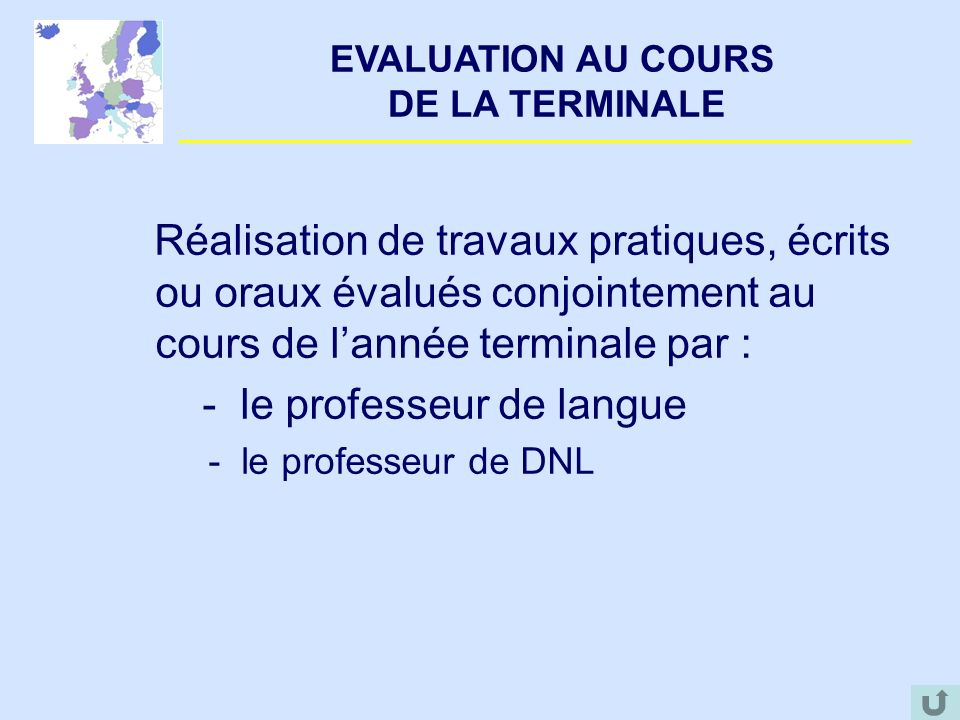 EVALUATION AU COURS DE LA TERMINALE