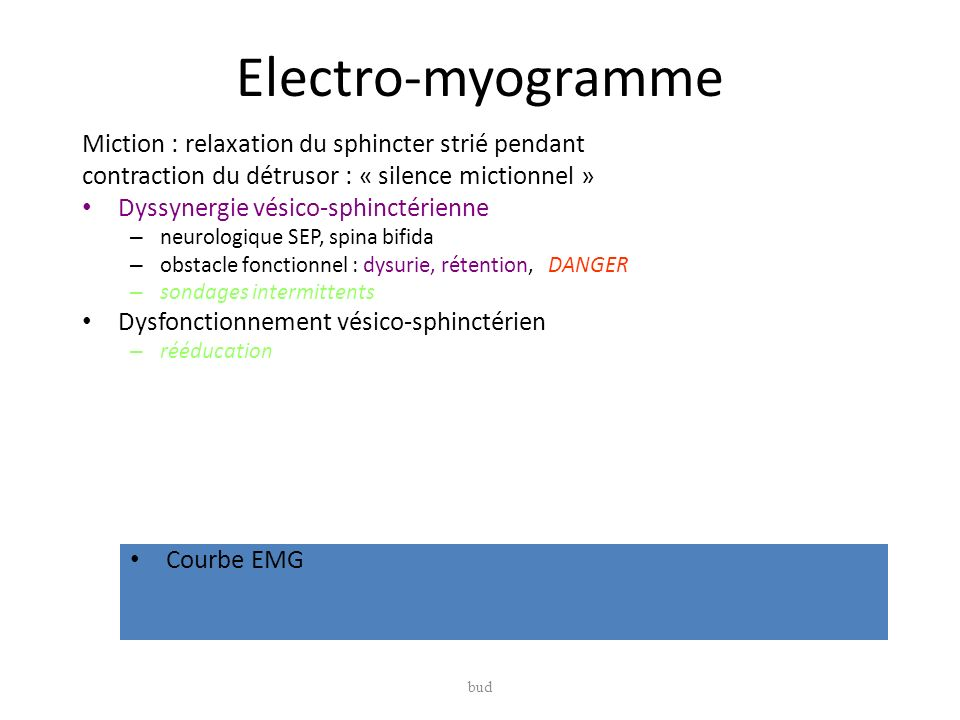 Electro-myogramme Miction : relaxation du sphincter strié pendant
