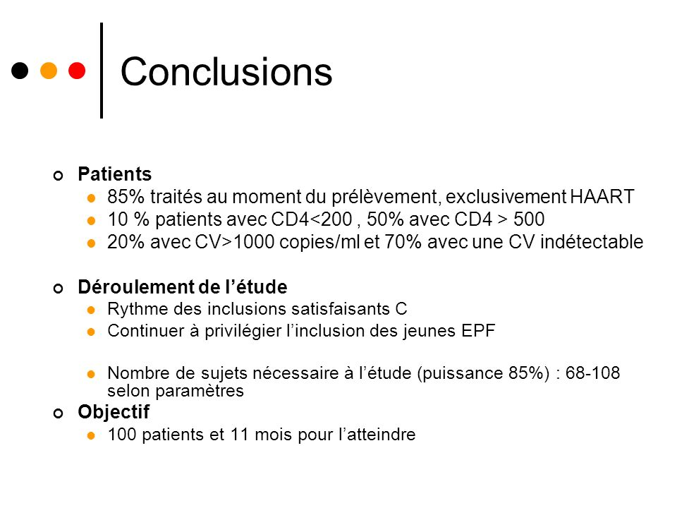 Conclusions Patients. 85% traités au moment du prélèvement, exclusivement HAART. 10 % patients avec CD4<200 , 50% avec CD4 > 500.